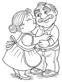 Babcia i Dziadek Colouring Pages, Adult Coloring Pages, Coloring Sheets, Coloring Books, Machine Embroidery Applique, Embroidery Patterns, Abraham And Sarah, Atc Cards, Grandparents Day