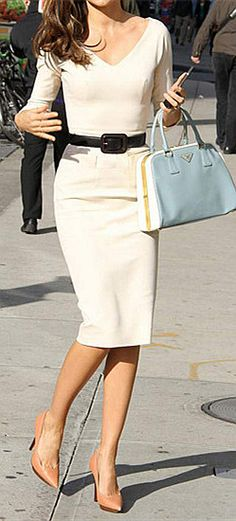 V Neck Zip Back Dress, Classic and chic white dress made perfect by the skinny black belt and nude pumps