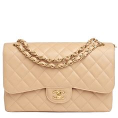 Chanel Classic Quilted Caviar Double Flap Jumbo Bag in Beige #chanel