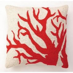 Big Red Coral Hook Pillow Sea life throw pillows will cheer up your home with an assortment of sea creatures eager to join your beach decor. Matching nautcial pillows:  octopus pillow, lobster pillow, orange seahorse pillow, crab pillow and blue squid pillow.   Pillow measures 18