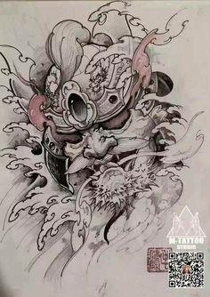 Samurai Mask Tattoo, Oni Mask Tattoo, Hannya Tattoo, C Tattoo, Sleeve Tattoos, Japanese Tattoo Art, Japanese Art, Armour Tattoo, Dibujos Tattoo