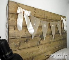 Make banner bunting out of linen or burlap