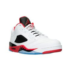 new product 7d4ab 86cc7 Nike Men s Air Jordan Retro 5 Low Basketball Shoes, Red White ( 175) ❤ liked  on Polyvore featuring men s fashion, men s shoes, men s sneakers, mens ...