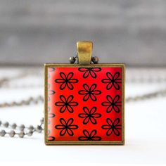 Red floral necklace Flower picture necklace Photo charm necklace Square pendant necklace Glass dome jewelry Wearable art Gift for her 19.00 USD StudioDbronze Red floral necklace red necklace Flower necklace picture necklace Photo necklace charm necklace Square pendant square necklace Glass dome jewelry Wearable art Gift for her 5054-2 Red pendant #handmade #jewelry #etsy
