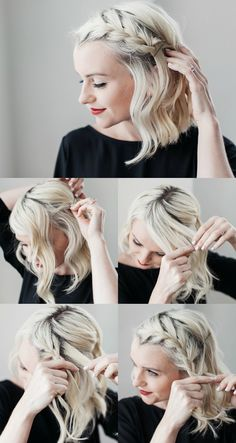 Make evening hairstyles yourself - 18 tips and tricks for effect .- Abendfrisuren selber machen – 18 Tipps und Tricks für effektvollen Look Make evening hairstyles yourself – 18 tips and tricks for an effective look - Evening Hairstyles, Side Hairstyles, Braided Hairstyles For Short Hair, Simple Hairstyles For Medium Hair, Short Blonde Haircuts, French Braid Hairstyles, Stylish Hairstyles, Easy Elegant Hairstyles, Bob Hairstyles How To Style