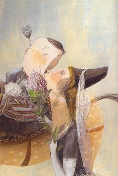O beijo da princesa / The Princess Kiss - Anna Castagnoli Art Story, Art Corner, Wonderful Picture, Love Illustration, Caricature, Altered Art, Painting & Drawing, Anna, Storytelling
