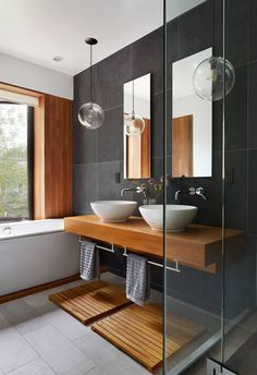 Contemporary bathroom design or the bathroom, one of the very visual pieces of a contemporary home! Get inspired and pick a best idea for your next bathroom renovation. Contemporary Bathroom Designs, Modern Interior Design, Contemporary Design, Modern Decor, Luxury Interior, Contemporary Furniture, Interior Ideas, Modern Japanese Interior, Contemporary Stairs