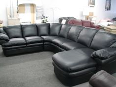 Cozy Black Leather Sofas For Elegant Living Room : Gorgeous Natuzzi Edition Black Leather Sectional Sofa with Thick Backrest for Spacious Mo...