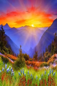mountain, nature, heaven, color, sunset, dawn of a new day, sunris, come lord jesus, natural garden
