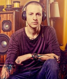 One of the best pictures of Chester Bennington! Hope he's listening to his own songs! lp
