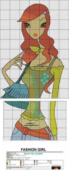 0 point de croix fille moderne au sac - cross stitch modern girl with a bag