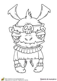 Le dessin d'un monstre à grosse tête et longs bras à colorier.