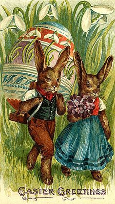 """️Antique Easter Postcard.... """"Easter Greetings""""."""