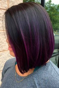 20 Must-Try Subtle Balayage Frisuren Purple Balayage, Black Hair With Highlights, Color Highlights, Purple Peekaboo Highlights, Balyage On Black Hair, Ombre On Black Hair, Black Hair Bob, Peekaboo Hair Colors, Black Purple Ombre