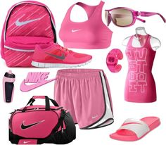 """pink nike pink nike pink nike"" by haalleyy on Polyvore"
