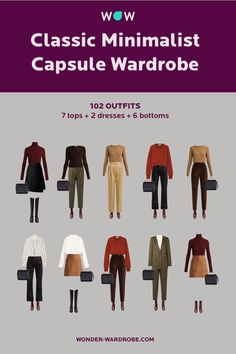 This capsule includes 7 tops, 2 dresses, 6 bottoms, 1 blazer, 1 cardigan, 2 winter jackets, 2 pairs of shoes, and 1 bag that result in 102 beautiful outfits. Style: Classic Minimalist style. Color type: Autumn. Season: Autumn/ Winter Method: Wonder Wardrobe