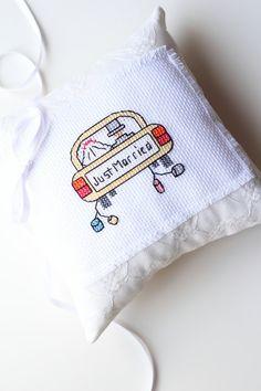Ring Bearer Pillow Cushion Linen Pillow Cross Stitch by demetoloji, $50.00