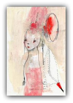 """Original Mixed Media Collage, Original Acrylic Painting by Christina Romeo """"Wait Just a Little Bit"""" by ChristinaRomeo on Etsy"""
