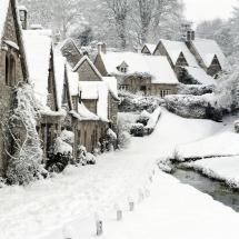 winter scene in Bibury, England