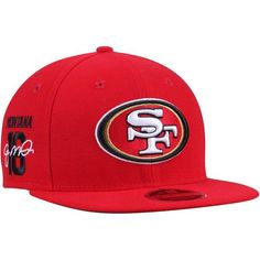 Joe Montana San Francisco 49ers New Era Signature Side 9FIFTY Adjustable Snapback Hat - Scarlet - $33.99
