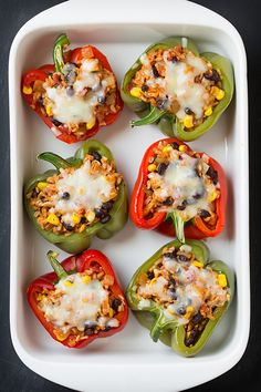 Here is a healthy entreethat takes a little bit of extrabut it's is well worth it in the end. These peppers are stuffed with so much goodness, and they a