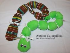Have a child with autism? This is a wonderful gift. Autism Caterpillars are used by schools and other agencies who teach children with Autism. These simple, soft, and darling caterpillars are weighted down with beans and have a sweet, soothing effect on a child with autism or sensory issues.