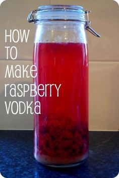 how to make raspberry vodka . Takes about 3 months to mature so make by September to enjoy over the Christmas season! How to make raspberry vodka for cocktails or presents at Christmas. Raspberry Vodka Drinks, Vodka Mojito, Vodka Lemonade, Raspberry Recipes, Raspberry Liquor Recipe, Vodka Lime, Cherry Vodka, Raspberry Liqueur, Fruity Drinks
