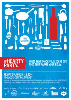 Poster design for Hearty Party, Food and wine event in Adelaide, Australia. Design by David Byerlee.