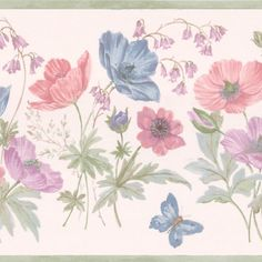 cool Violet Butterfly Flower Border Wallpaper Check more at http://hasiera.co.uk/s/furnishings/product/violet-butterfly-flower-border-wallpaper/