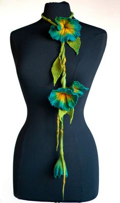 Felted flower necklace/scarf by Parvana_creations, via Flickr