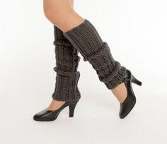 Charcoal / Dark Gray, 80's Style, Crocheted Legwarmers, Handmade, Dance, Ballet, Jazz, Knit, Women's Warm, Winter Accessory--READY TO SHIP