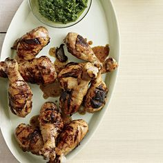No need for frying! Grilled Drumsticks with Citrus-Herb Dipping Sauce are super flavorful and healthy