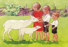 - Illustration by Rudolf Koivun March Baby, One Thousand, Baby Lamb, The Kingdom Of God, Believe In God, Little People, Vintage Art, Sheep, Poppies