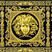 3 baroque rococo black gold flowers floral leaves leaf ivy vines acanthus Versace inspired medusa vases goats horn of plenty hoof Victorian gorgons Greek Greece mythology filigree swirls scrolls Cornucopia columns    by raveneve
