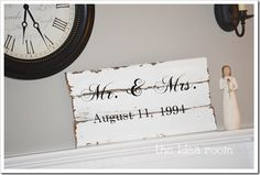 Mr. & Mrs Sign - Ecru Background with Expresso Paint!