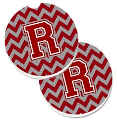 Letter R Chevron Maroon and White Set of 2 Cup Holder Car Coasters CJ1049-RCARC