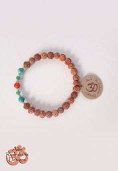 Turquoise, green agate, Carnelian stones Gold plated Sterling silver beads #aum #rudraksha #beads #bracelet #jewellery #turquoise #bali