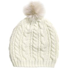 Cable-knit Hat $9.99 ($9.99) ❤ liked on Polyvore featuring accessories, hats, beanie, cable knit hat, cable hat, pompom hat, faux fur hat and faux fur pom pom hats