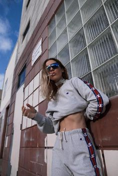 Jennifer takes a break outside while dressed in Vetements x Champion sweats. from @nativefox's closet