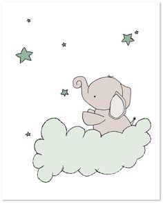 Elefant-Kinderzimmer-Kunst: Eine Reihe von Drucke von Elefanten in den Nachthimmel mit Mond und Sternen, eine traumhafte Ergänzung für Ihr Kinderzimmer! Sie können diese Drucke, alle Farben, die Sie wählen, entweder aus der Farbkarte oder ein Bild oder Link, lass es mich wissen