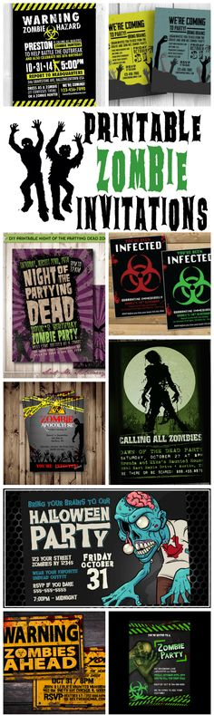 Thinking of throwing your teen a zombie party? Here is a gruesomely awesome collection of printable zombie invitations that are perfect for a teenage zombie party!