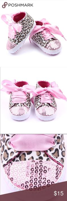 Pink Sequin Leopard Hi Top Crib Shoes Brand new. Size between 3 - 9 months Shoes Baby & Walker