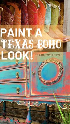 """How to Paint a Texas Gypsy Style """"Signature Color Combo"""" Look on Furniture Furniture Painting Techniques, Chalk Paint Furniture, Hand Painted Furniture, Furniture Decor, Distressed Furniture, Upcycled Furniture, Furniture Makeover, Furniture Design, Boho Glam Home"""