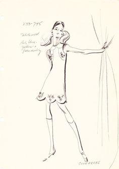 House of Courreges Original Vintage Fashion Sketch by AwesomeMema
