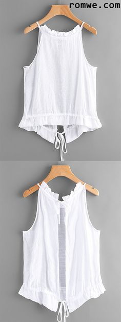 Tie Open Back Frill Detail Top - para mi pantalon azul cielo ♥ Easy Sew Dress, Diy Dress, Diy Fashion, Ideias Fashion, Fashion Design, Fashion Trends, Fashion Top, Summer Outfits, Cute Outfits