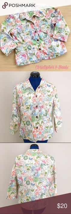 Christopher & Banks 3/4 Sleeve Jacket Size Medium The bright colors and fun designs on this 3/4 sleeve jacket by Christopher & Banks will have you looking super cute this spring! This jacket has a small pocket on each breast. The 3/4 length sleeves have a small split on the side hemline. This jacket has five buttons. The buttons are a little scuffed (see pic 6) but they don't detract from how beautiful this jacket is. When measured laying flat, from armpit to armpit it is 21 inches across…