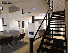 3D - sisustussuunnittelu / skandinaavinen olohuone, kalanruotoparketti, tammipaneeli seinissä, mustat portaat lasikaiteilla, Hovi-Portaiden malli Virgon, hovinikkarit.com, scandinavian living room, oak wall/ 3D-sisustus Tilanna