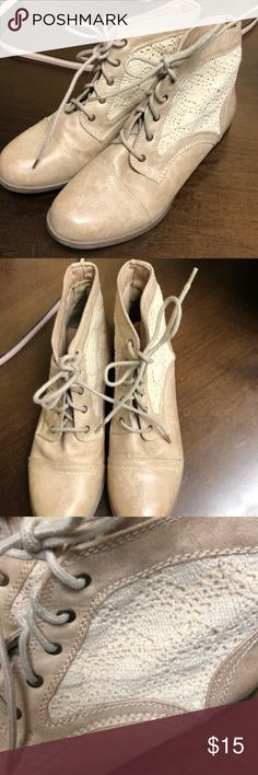 EUC Crochet Lace boots Tan boots, super cute! Mossimo Supply Co. Shoes