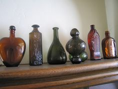 bottles on a mantel