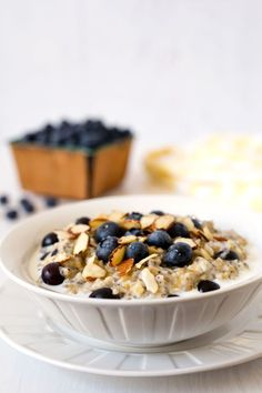 My Lemon Blueberry Steel Cut Oats are creamy, lightly sweet, flavored with lemon, studded with blueberries and chia seeds, and topped with sliced almonds.  #breakfast #oats #instantpot #pressurecookingtoday